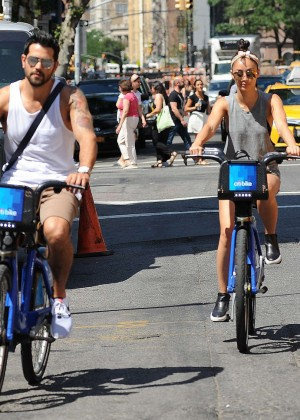 Cara Santana with Jesse Metcalfe Bike ride in NY