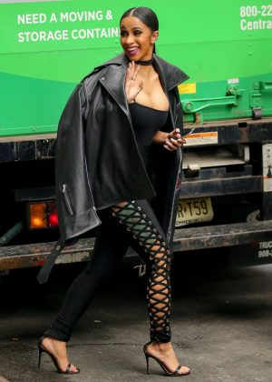 Cardi B In Black Lace Up Pants Out In New York Gotceleb