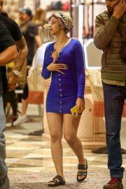 Cardi B in Blue Mini Dress - Out in Miami