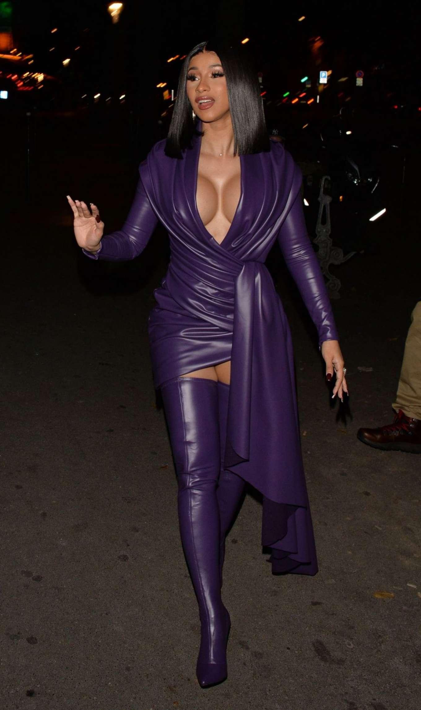 Cardi B 2019 : Cardi B in Low Cut Leather Dress – Out in Paris-05