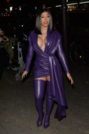 Cardi B in Low Cut Leather Dress - Out in Paris