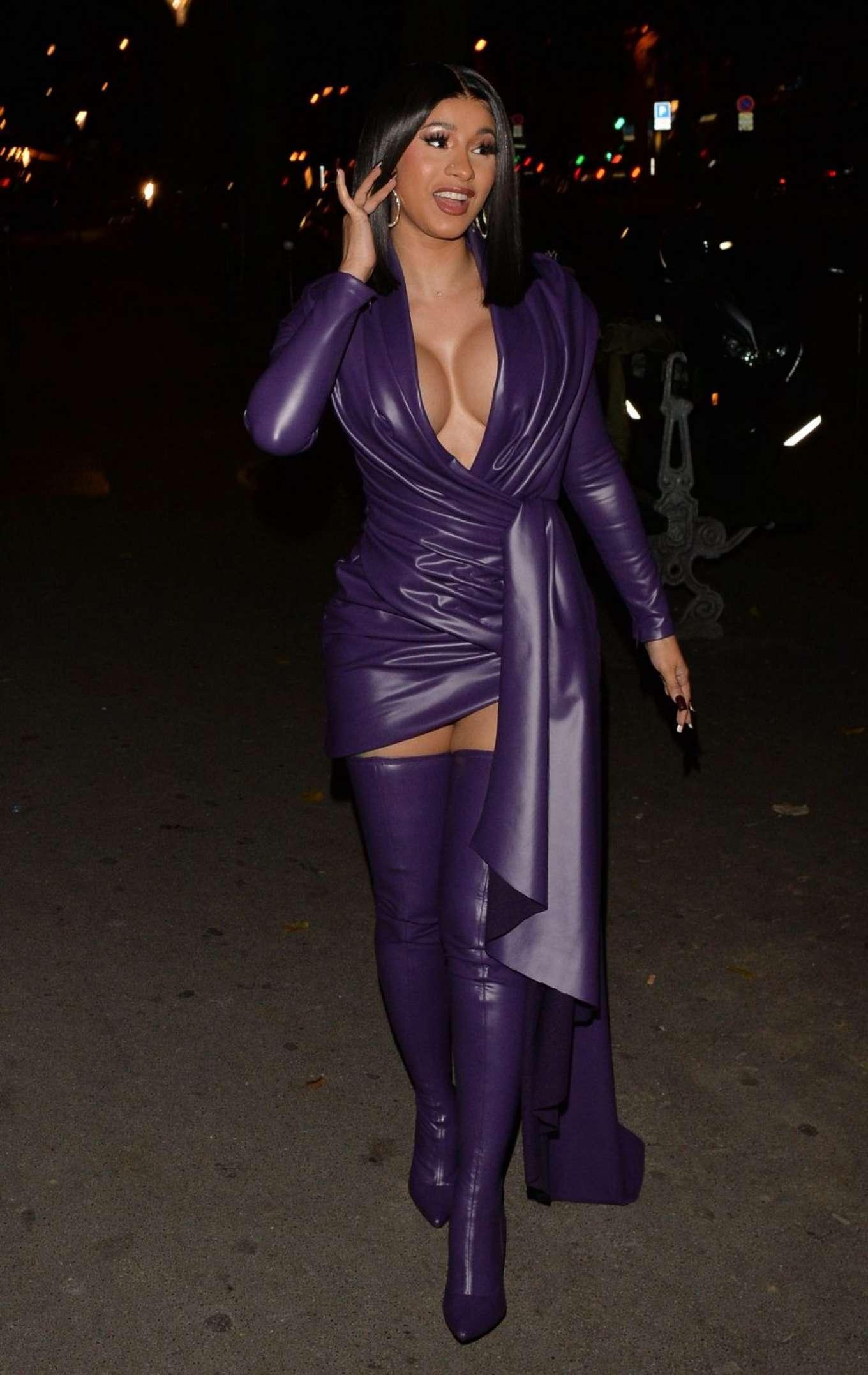 Cardi B 2019 : Cardi B in Low Cut Leather Dress – Out in Paris-08