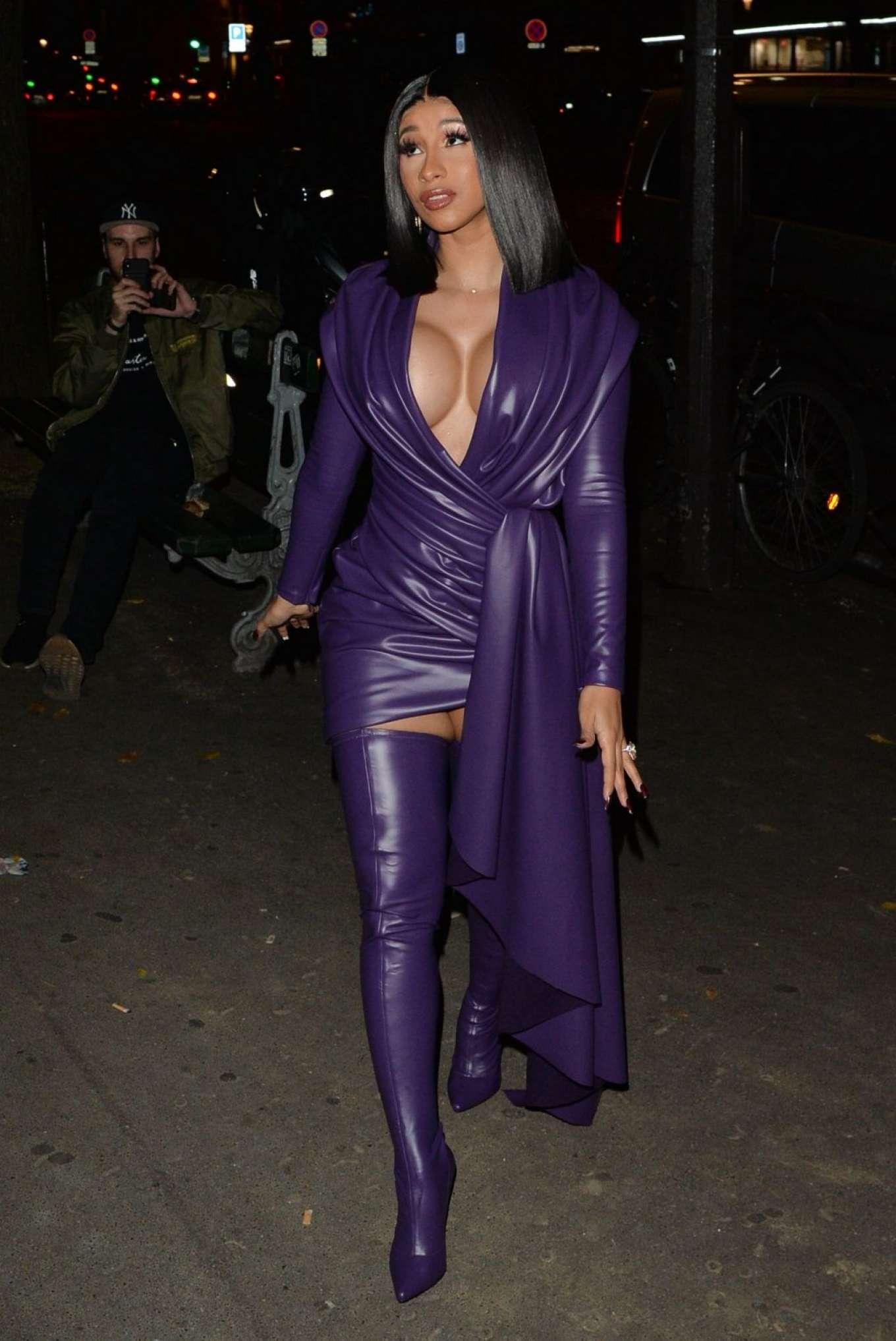Cardi B 2019 : Cardi B in Low Cut Leather Dress – Out in Paris-10