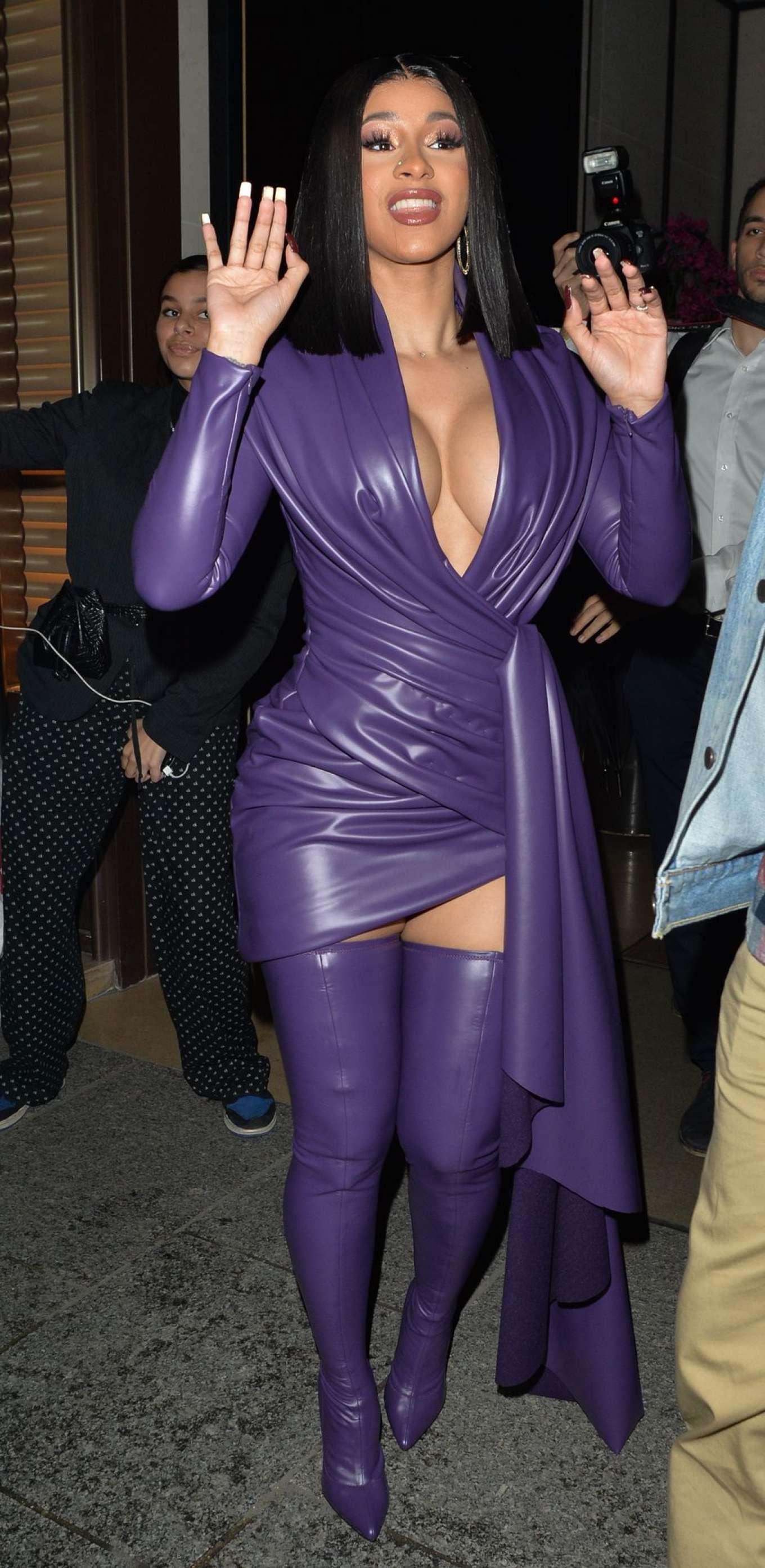Cardi B 2019 : Cardi B in Low Cut Leather Dress – Out in Paris-12