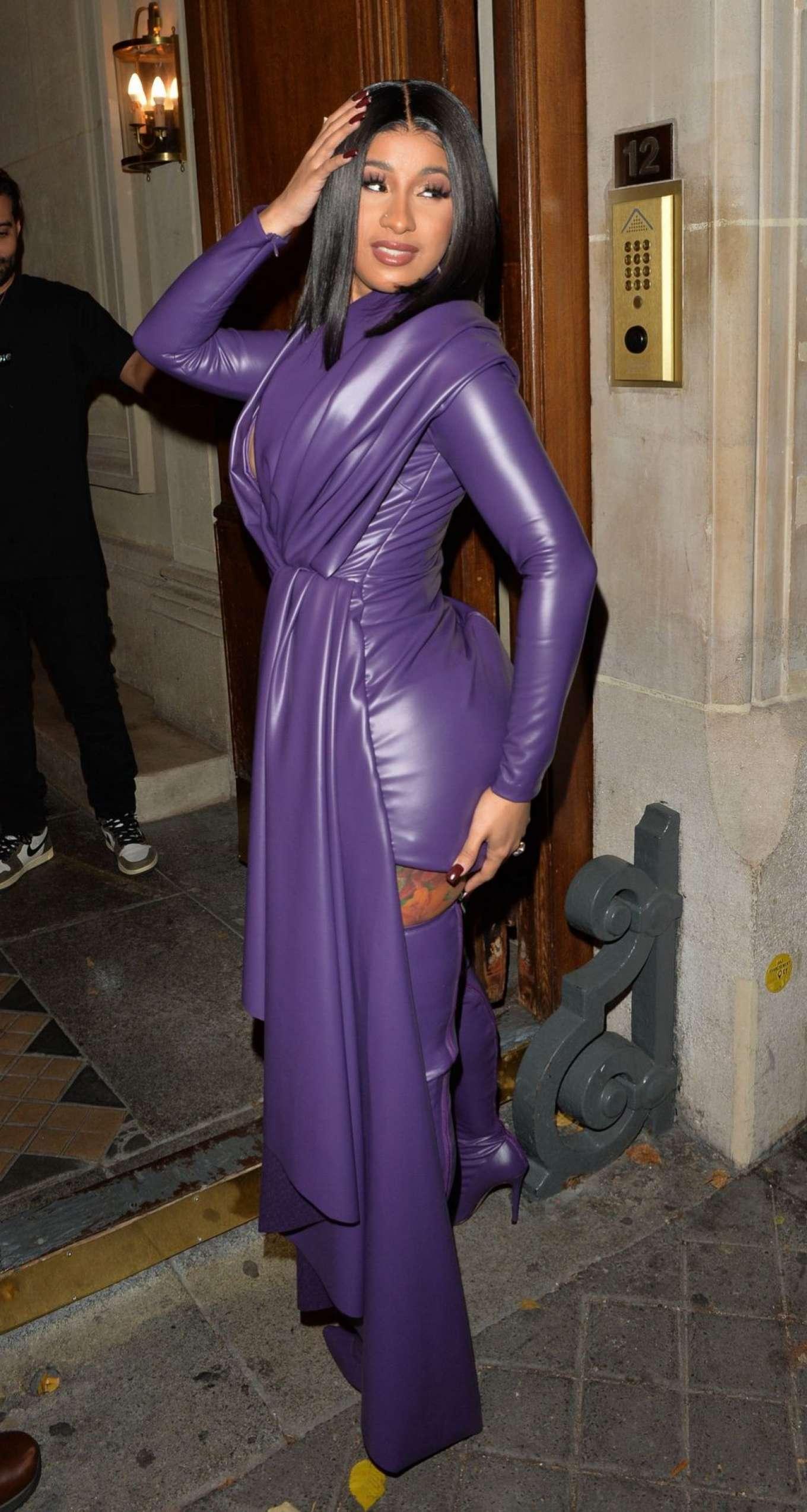 Cardi B 2019 : Cardi B in Low Cut Leather Dress – Out in Paris-16