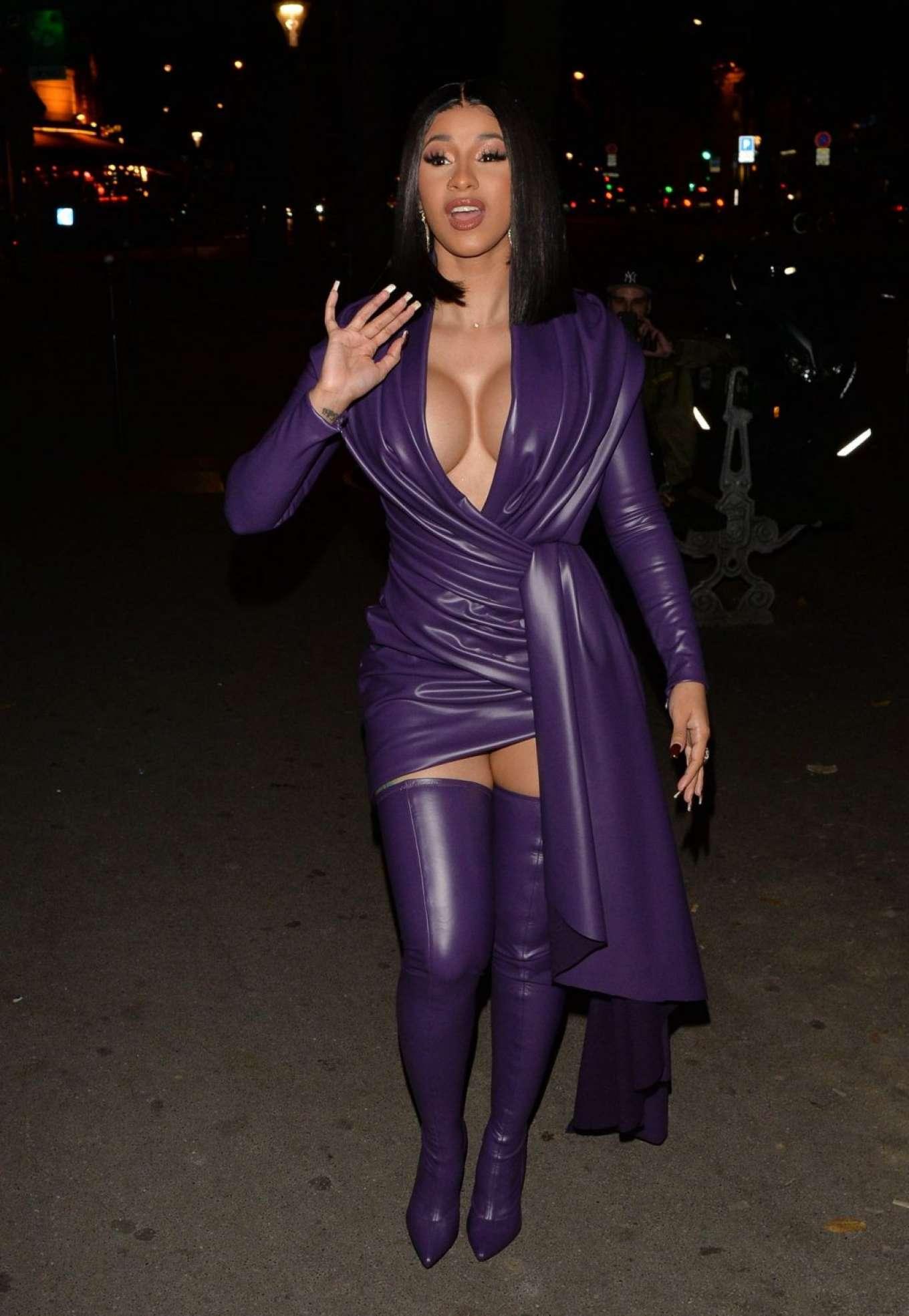 Cardi B 2019 : Cardi B in Low Cut Leather Dress – Out in Paris-17