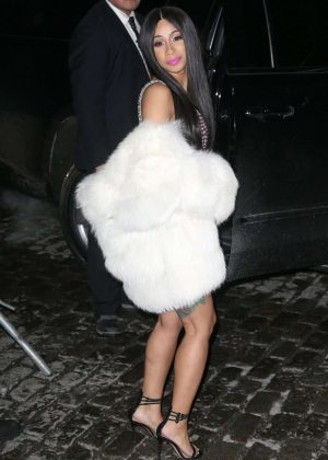 Cardi B in Short Dress and Fur Coat Out in New York