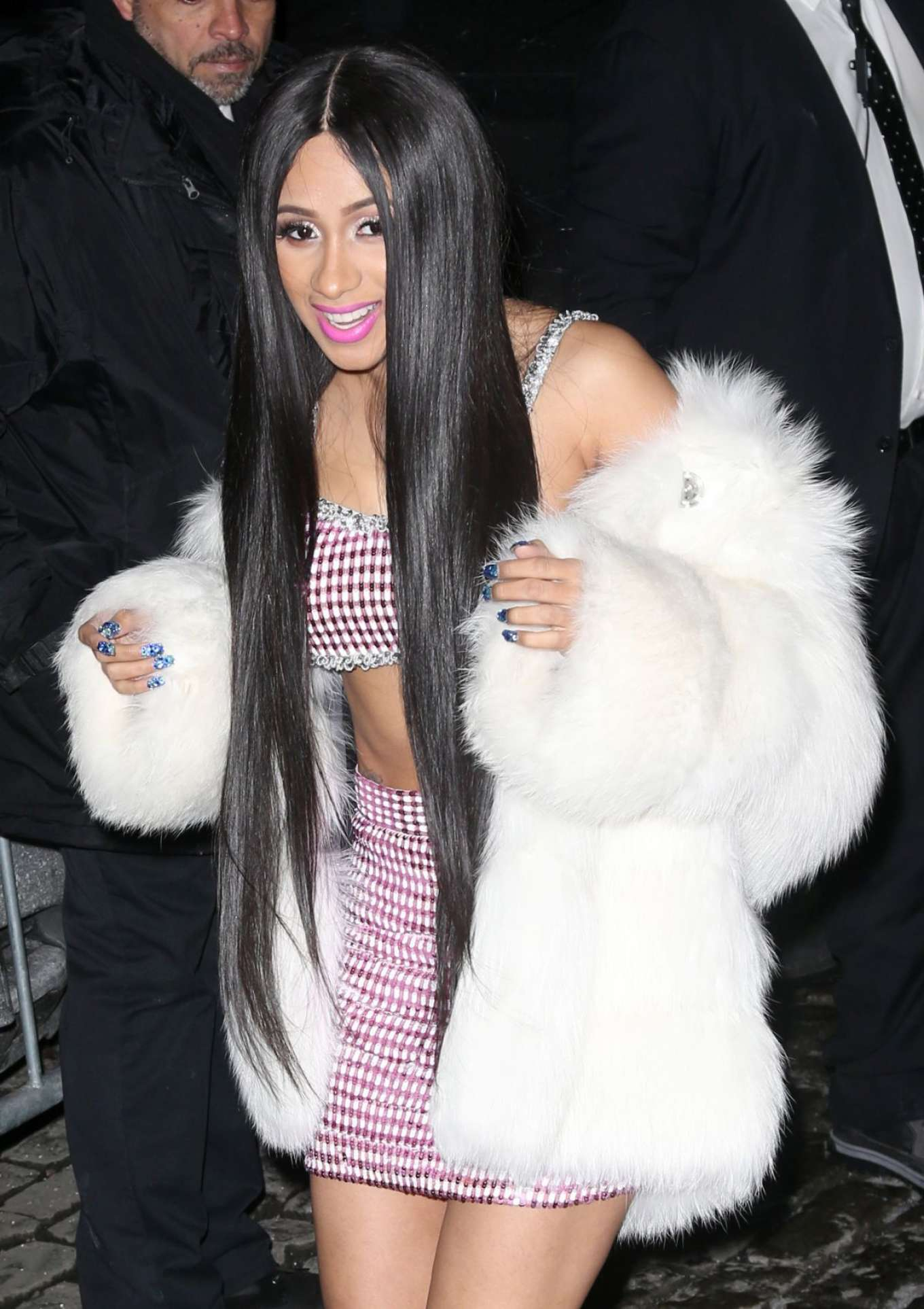 Cardi B In Short Dress And Fur Coat Out In New York Gotceleb