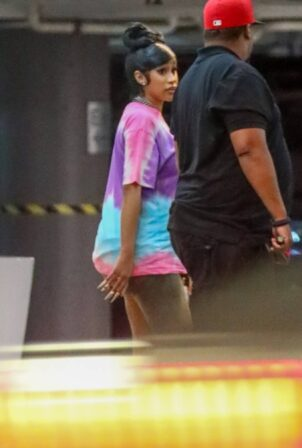 Cardi B - sports a tie-dye t-shirt while out in Los Angeles, California