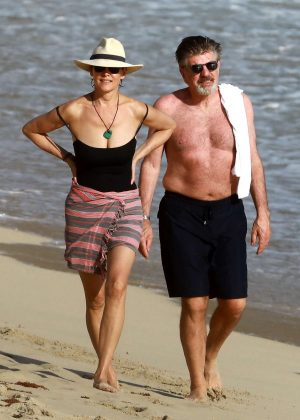 Carey Lowell In Black Swimsuit In St Barts Gotceleb