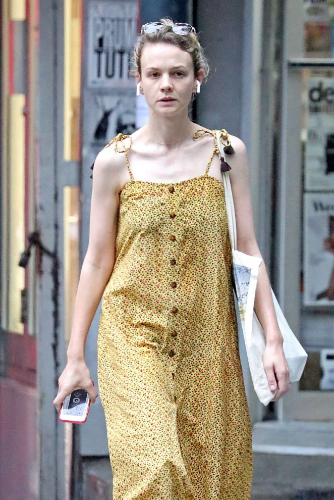 Carey Mulligan in Yellow Summer Dress - Out in NYC