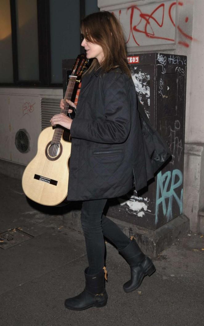 Carla Bruni Leaves a Recording Studio in Paris