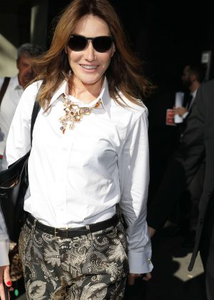 Carla Bruni - Leaving the Dolce & Gabbana Show in Milan