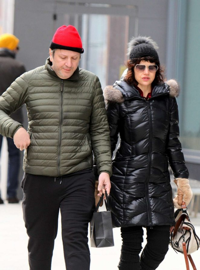 Carla Gugino and her husband Sebastian Gutierrez out in NY
