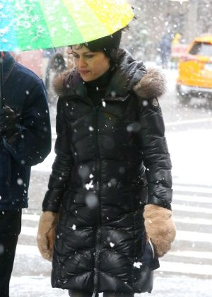 Carla Gugino at Washington Square Park in New York