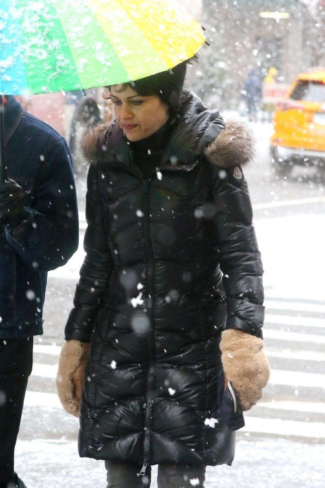 Carla Gugino at Washington Square Park in New York