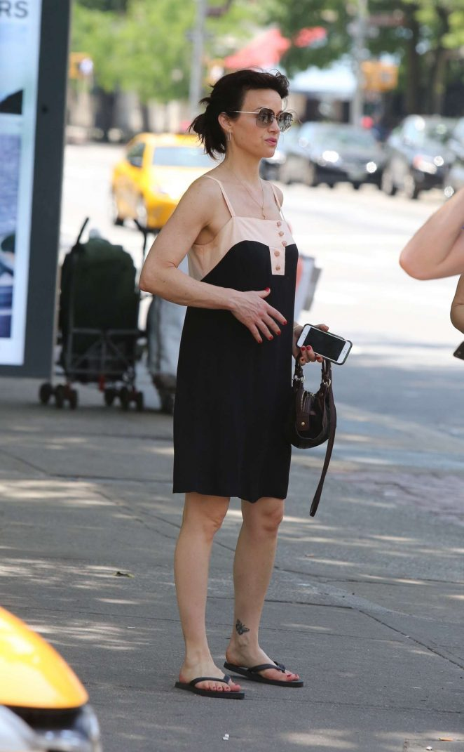 Carla Gugino in Black Dress out in New York