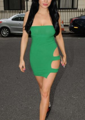 Carla Howe in Green Mini Dress - Out in London