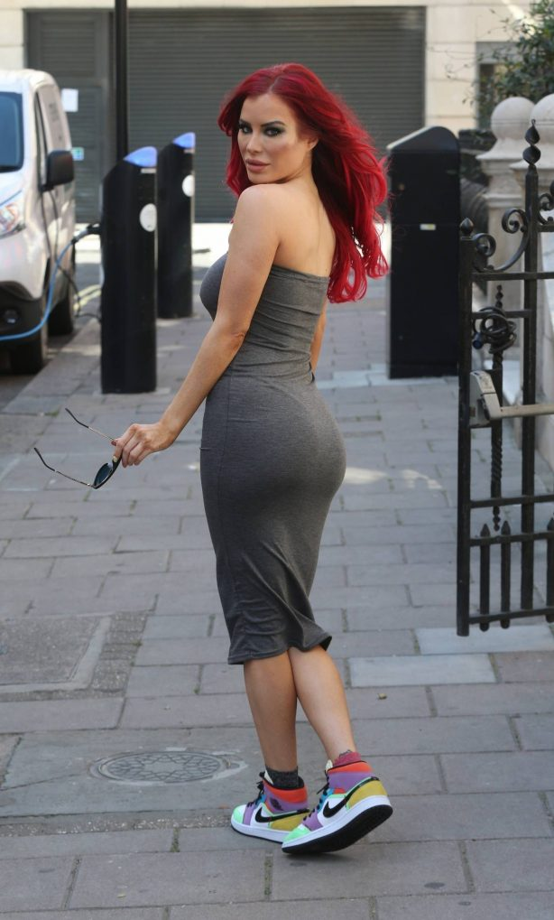 Carla Howe in Grey Strapless Dress - Out in London