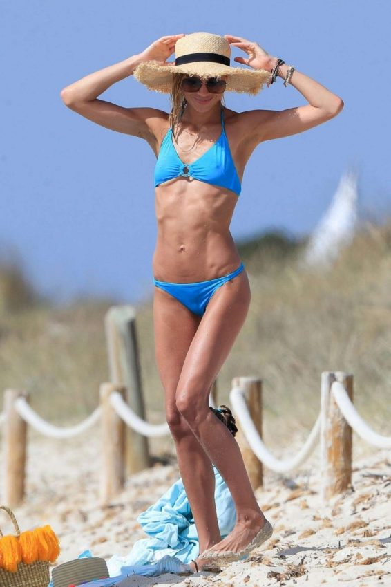 Carla Pereyra in Blue Bikini on the beach in Formentera