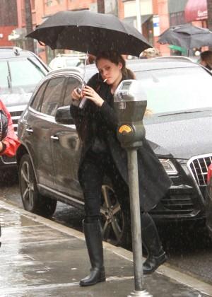 Carly Chaikin - Shopping in the rain in Beverly Hills