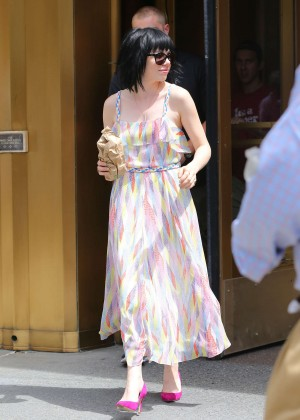 Carly Rae Jepsen in Long Dress Out in Soho