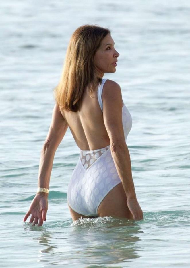 Carol Davis in White Swimsuit in Barbados