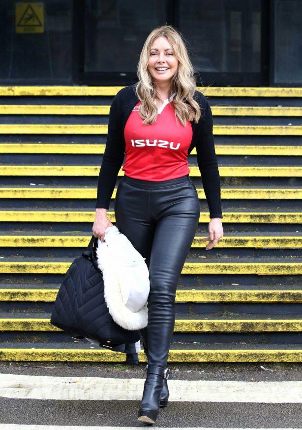 Carol Vorderman - Arriving for radio show at the BBC studios in Llandaff