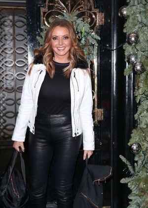 Carol Vorderman in Leather Pants at Scotts Restaurant in London