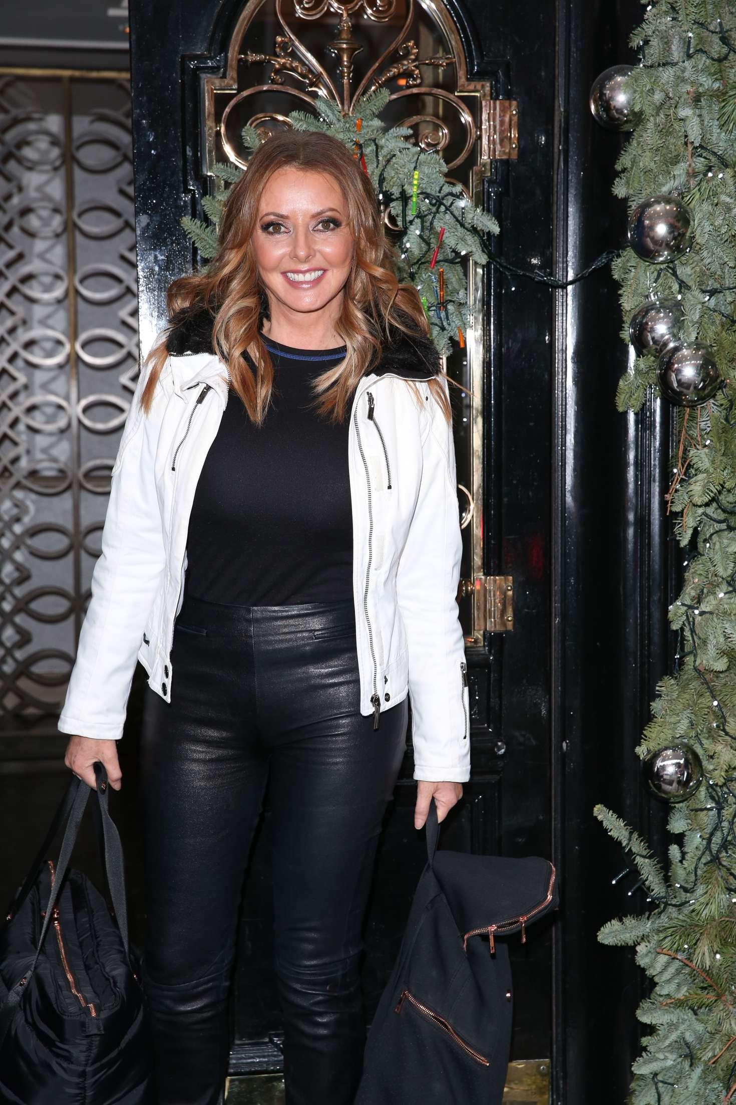 Carol Vorderman in Leather Pants at Scotts Restaurant in London