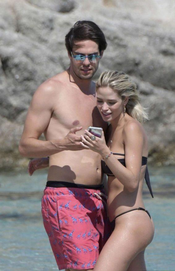 Carolina Dias with Ricardo Kaka on Nammos beach in Mykonos
