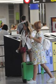 Caroline Flack - Arrives at the airport in Mallorca
