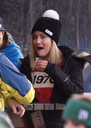 Caroline Flack at Rond-point apres-ski bar in French