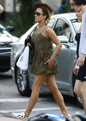 Caroline Flack in Mini Dress out in Miami
