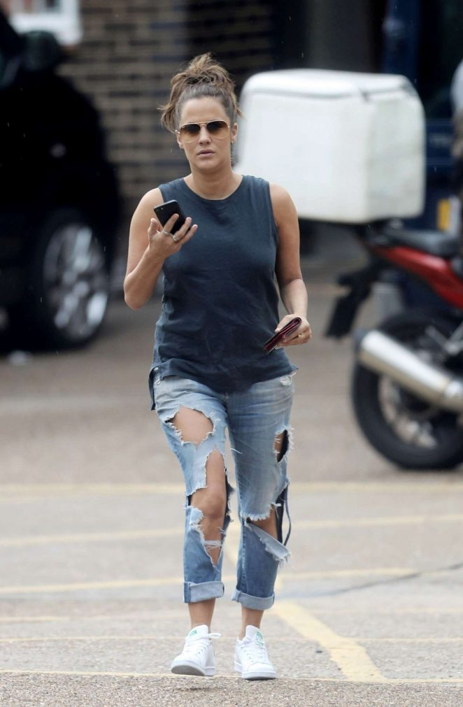 Caroline Flack in Ripped Jeans out in London