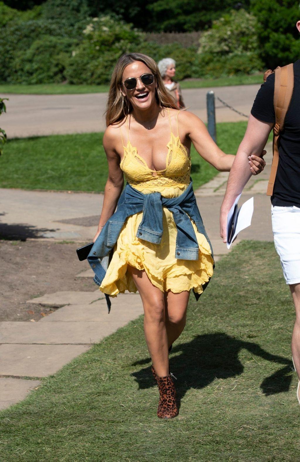 Caroline Flack in Yellow Mini Dress - Out in London