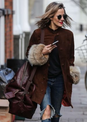Caroline Flack - Leaving her home in London