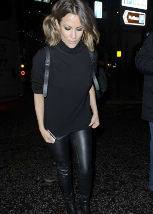 Caroline Flack in Leather Pants - Night Out in Birmingham