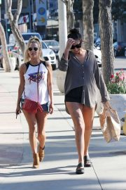 Caroline Flack on Sunset Blvd with a friend in Los Angeles