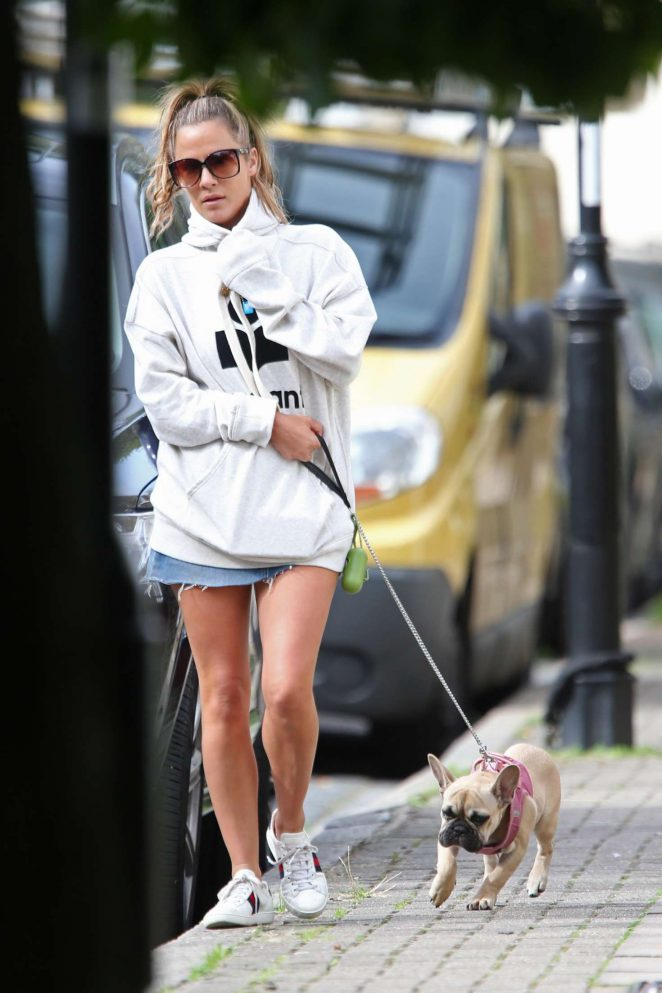 Caroline Flack - Walking her dog in London