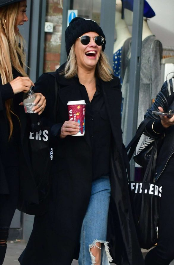 Caroline Flack with friends shopping in East London
