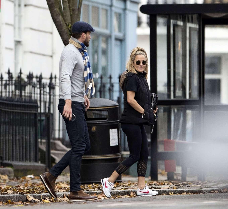 Caroline Flack 2019 : Caroline Flack with her boyfriend Lewis Burton at local cafe in North London-06