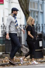 Caroline Flack with her boyfriend Lewis Burton at local cafe in North London