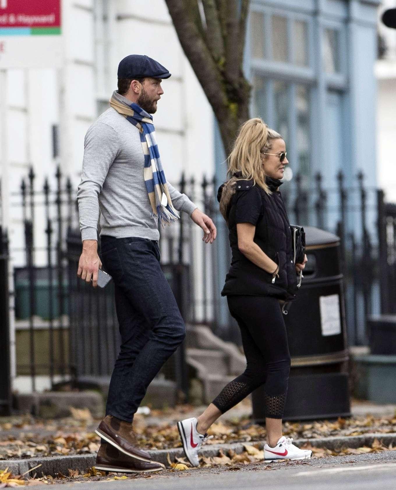 Caroline Flack with her boyfriend Lewis Burton at local cafe in North London