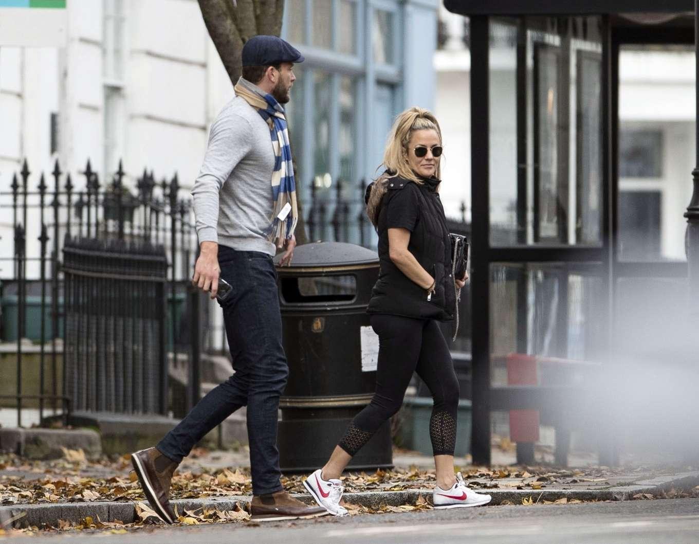 Caroline Flack 2019 : Caroline Flack with her boyfriend Lewis Burton at local cafe in North London-19