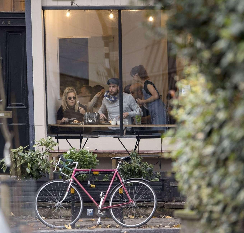 Caroline Flack 2019 : Caroline Flack with her boyfriend Lewis Burton at local cafe in North London-31