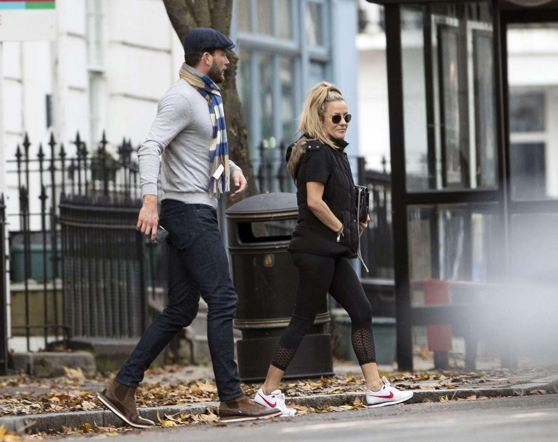 Caroline Flack 2019 : Caroline Flack with her boyfriend Lewis Burton at local cafe in North London-34