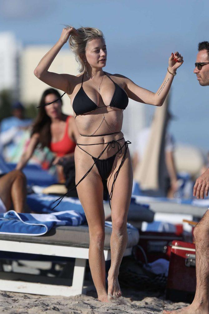 Caroline Vreeland in Black Bikini on Miami Beach