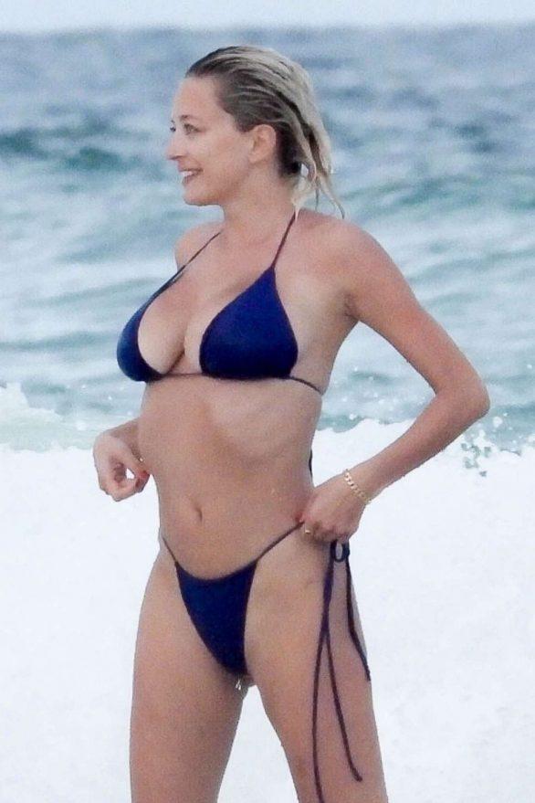 Caroline Vreeland in Blue Bikini on the beach in Tulum