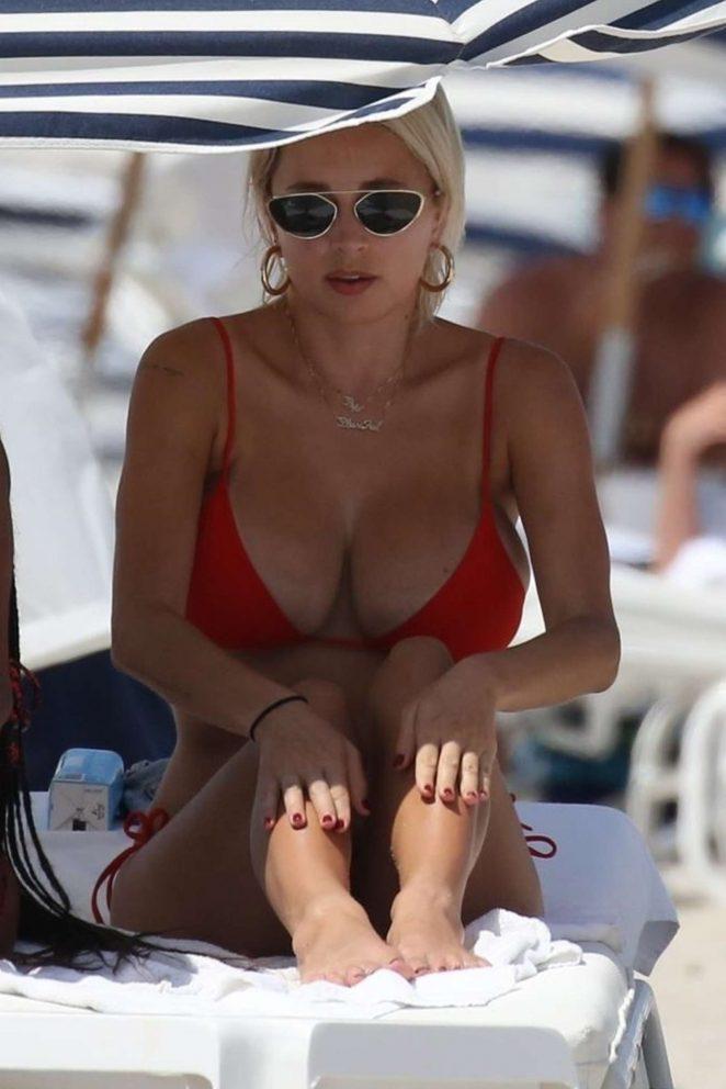 Caroline Vreeland in Red Bikini on the beach in Miami